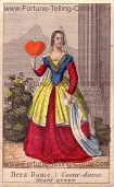 Sibille, the fortune telling gypsy mother, Heart Queen
